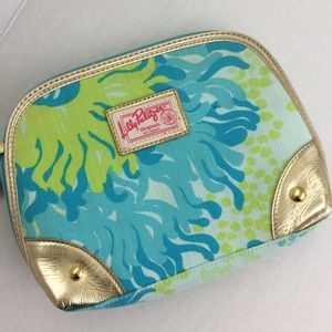 Lily Pulitzer Blue Green Gold Make Up Bag Pouch